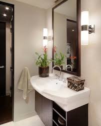 designs ideas bathroom with white sink and small wall mirror