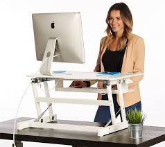 Dual Monitor Stand Up Desk by White Standing Desk The Deskriser Height Adjustable Heavy