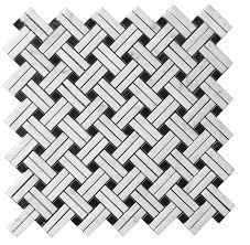 carrara bianco honed basketweave stanza mosaic tile