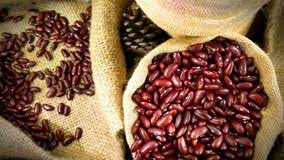 Pile Of Red Kidney Beans In Woven Sack Bag Stock Image