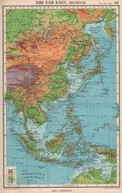 Map Of Far East The Physical Asia Indies Bartholomew 1952 Old With