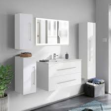 weiße bad möblierung hochglanz mit licht spiegel led