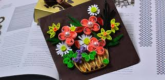 How To Make A Beautiful Quilling Paper Flower Basket For Cards Step By