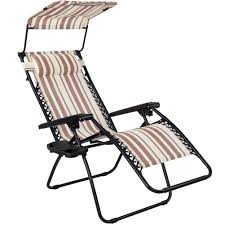Folding Zero Gravity Reclining Lounge Chair With Canopy, Neck Pillow And  Side Tray, Yellow And Coffee Stripe
