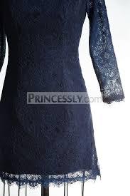 long sleeves navy blue lace short wedding bridesmaid dress mother
