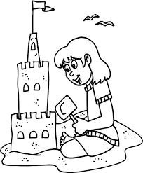 Sand Castle Clipart Coloring