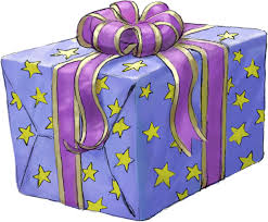 Present Gift Purple Lilac Stars Wrapped Ce