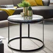 wohnling couchtisch metall 58x45x58 cm silber schwarz industrial style rund design wohnzimmertisch mit nieten moderner loungetisch sofatisch