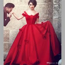 sais mhamad red prom dresses ball gown cap sleeve satin velvet