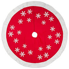 56 Inch Red White Snowflakes Design Wool Felt Christmas Tree Skirt