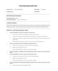 Call Center Manager Resume Supervisor Job Description Ideas