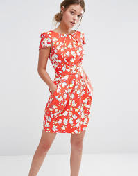 floral print short sleeve dress by closet red