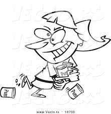 Vector of a Cartoon Woman Hoarding Canned Food Outlined Coloring Page