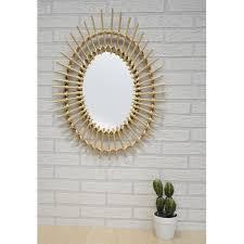 spiegel kreisförmige wand des natürlichen rattan dekorative spiegel original dekoration schlafzimmer wohnzimmer 57x43cm