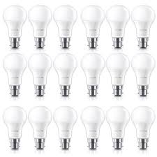 18 pack philips 9w b22 bayonet warm white light frosted a60 led