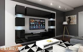 future 14 wohnwand anbauwand wand schrank möbel tv schrank wohnzimmer wohnzimmerschrank hochglanz weiß schwarz led rgb beleuchtung 14 hg b 1 möbel