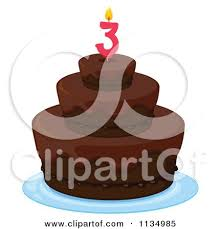 Chocolate Birthday Cake With A 3 Candle