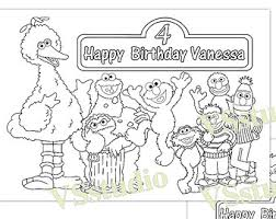 Sesame Street Birthday Party Favor Coloring Pages Pdf File