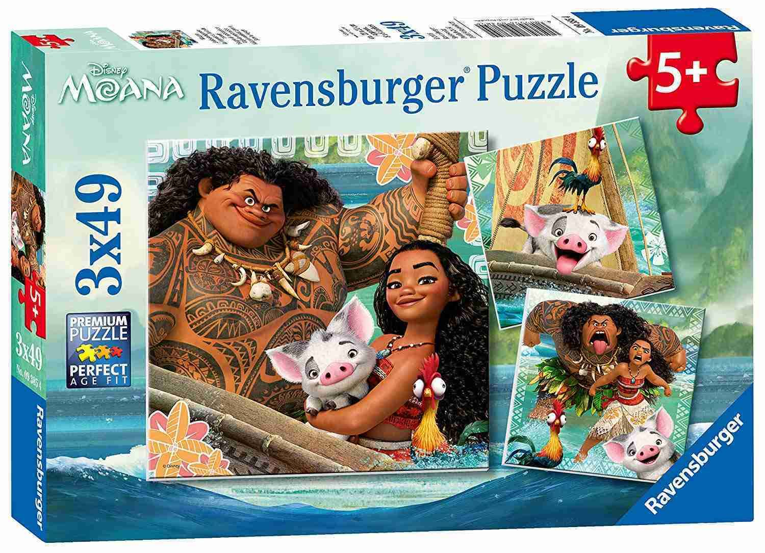 Ravensburger Disney Moana Jigsaw Puzzle - Adventure, 3 x 49pcs