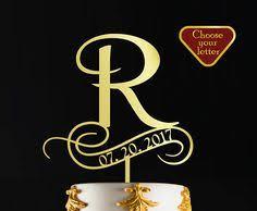 Letter R Cake Topper Wedding Name Gold