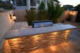 L Shaped Outdoor Kitchen Stone Counters Lisa Cox Landscape Design Solvang CA