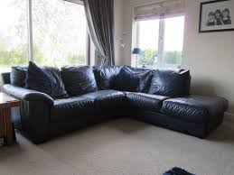 Easy Designed Blue Leather Sofa Shaped In L Installed At Small Living Room With Grey Flooring Square New Brand Contemporary Tan Sectional Modular Couch