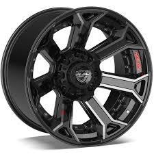 100 8 Lug Truck Wheels 4PLAY Lug Brushed Black Aftermarket Fit GMFordDodge