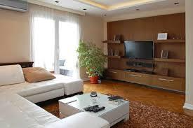 wohnzimmer mit großem lcd tv regal in moderne wohnung