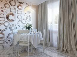 Wall Decoration Dining Room Wallpaper Long Curtains Floor Tiles