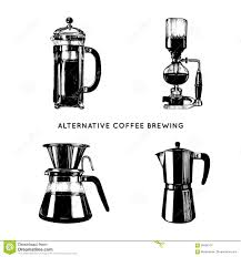 Download Vector Alternative Coffee Brewing Illustrations Set Hand Sketched Different Makers Cafe