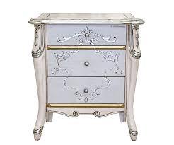 nachttisch 3 schubladen mit silber oder gold elementen schöner nachttisch im klassischen stil made in italy neu schon montiert kleine kommode aus