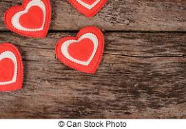 Hearts On Wooden Background Valentines Day