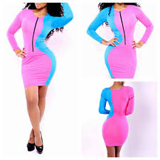 Sexy Ladies Summer Vintage Zipper Fashion Hot Star Model Catwalk Style Bandage Bodycon Blue Pink Patchwork Club Wear Outfit Dress