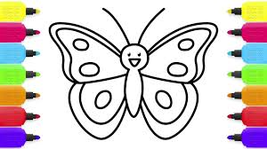 Baby Butterfly Coloring Pages Drawing And Book Learn Colors For Kids