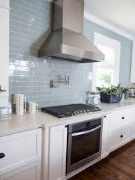 Light Blue Gray Subway Tile by Fixer Upper Texas Sized House Small Town Charm Vent Hood
