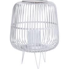 deko laterne auf kerzen in weiß bambus laterne mit teelicht kerzenständer home styling collection emako