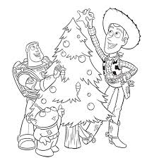 Toy Story Christmas Tree Decoration Coloring Pages For Kids Printable Disney