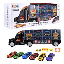 100 Toy Car Carrier Truck Soka Transporter Rier Play Vehicle Set Of 1 Big Rier 6 Colourful Metal S 5 Cones 2 Barrels And 4 Stop Signs