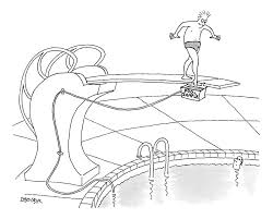 A Man Is On Diving Board Above Pool He Dips Drawing By Jack Ziegler