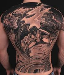 18Grey Wash Fallen Angel Back Tattoo
