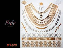 1 PCS New Gold Foil Metal Elements Tattoo Tribal Necklace Patterns Waterproof Body