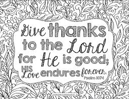 Give Thanks To The Lord Bible Verse Coloring Page