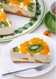 fruchtige frischkäsetorte mit mandarinen und kiwi no bake
