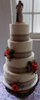 4 Tier Textured Buttercream Wedding Cake Decorated With Burlap And Lace Ribbons Burnt Orange Fresh