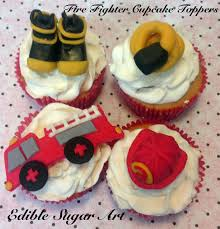 100 Fire Truck Cupcake Toppers Fondant Truck FIREFIGHTER CAKE TOPPER First