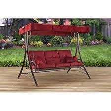 Mainstays Callimont Park 3 Seat Daybed Swing Red Three Person With