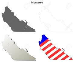Monterey County California Blank Outline Map Set Stock Vector