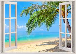 palm tree beach wall decals 3d window tropical beach wall