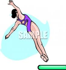 Royalty Free Clipart Image Girl Doing A Back Dive Off Diving Board