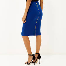 river island bright blue zip back pencil skirt in blue lyst